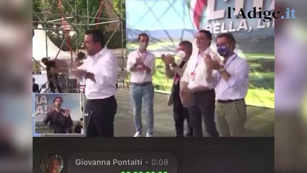Da Salvini uno spot per le montagne trentine sul palco di Roma, e Fugatti alle sue spalle si esalta