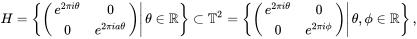 {\displaystyle H=\left\{\left.\left({\begin{matrix}e^{2\pi i\theta }&0\\0&e^{2\pi ia\theta }\end{matrix}}\right)\right|\theta \in \mathbb {R} \right\}\subset \mathbb {T} ^{2}=\left\{\left.\left({\begin{matrix}e^{2\pi i\theta }&0\\0&e^{2\pi i\phi }\end{matrix}}\right)\right|\theta ,\phi \in \mathbb {R} \right\},}