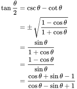 \begin{align} \tan \frac{\theta}{2} &= \csc \theta - \cot \theta \\ &= \pm\, \sqrt{1 - \cos \theta \over 1 + \cos \theta} \\ &= \frac{\sin \theta}{1 + \cos \theta} \\ &= \frac{1-\cos \theta}{\sin \theta} \\ &= \frac{\cos \theta+\sin \theta-1}{\cos \theta-\sin \theta+1} \end{align}