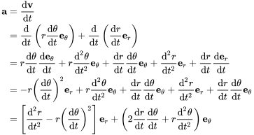 {\displaystyle {\begin{aligned}\mathbf {a} &={\frac {\mathrm {d} \mathbf {v} }{\mathrm {d} t}}\\&={\frac {\mathrm {d} }{\mathrm {d} t}}\left(r{\frac {\mathrm {d} \theta }{\mathrm {d} t}}\mathbf {e} _{\theta }\right)+{\frac {\mathrm {d} }{\mathrm {d} t}}\left({\frac {\mathrm {d} r}{\mathrm {d} t}}\mathbf {e} _{r}\right)\\&=r{\frac {\mathrm {d} \theta }{\mathrm {d} t}}{\frac {\mathrm {d} \mathbf {e} _{\theta }}{\mathrm {d} t}}+r{\frac {\mathrm {d} ^{2}\theta }{\mathrm {d} t^{2}}}\mathbf {e} _{\theta }+{\frac {\mathrm {d} r}{\mathrm {d} t}}{\frac {\mathrm {d} \theta }{\mathrm {d} t}}\mathbf {e} _{\theta }+{\frac {\mathrm {d} ^{2}r}{\mathrm {d} t^{2}}}\mathbf {e} _{r}+{\frac {\mathrm {d} r}{\mathrm {d} t}}{\frac {\mathrm {d} \mathbf {e} _{r}}{\mathrm {d} t}}\\&=-r\left({\frac {\mathrm {d} \theta }{\mathrm {d} t}}\right)^{2}\mathbf {e} _{r}+r{\frac {\mathrm {d} ^{2}\theta }{\mathrm {d} t^{2}}}\mathbf {e} _{\theta }+{\frac {\mathrm {d} r}{\mathrm {d} t}}{\frac {\mathrm {d} \theta }{\mathrm {d} t}}\mathbf {e} _{\theta }+{\frac {\mathrm {d} ^{2}r}{\mathrm {d} t^{2}}}\mathbf {e} _{r}+{\frac {\mathrm {d} r}{\mathrm {d} t}}{\frac {\mathrm {d} \theta }{\mathrm {d} t}}\mathbf {e} _{\theta }\\&=\left[{\frac {\mathrm {d} ^{2}r}{\mathrm {d} t^{2}}}-r\left({\frac {\mathrm {d} \theta }{\mathrm {d} t}}\right)^{2}\right]\mathbf {e} _{r}+\left(2{\frac {\mathrm {d} r}{\mathrm {d} t}}{\frac {\mathrm {d} \theta }{\mathrm {d} t}}+r{\frac {\mathrm {d} ^{2}\theta }{\mathrm {d} t^{2}}}\right)\mathbf {e} _{\theta }\\\end{aligned}}}