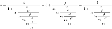 {\displaystyle \pi =\textstyle {\cfrac {4}{1+\textstyle {\frac {1^{2}}{2+\textstyle {\frac {3^{2}}{2+\textstyle {\frac {5^{2}}{2+\textstyle {\frac {7^{2}}{2+\textstyle {\frac {9^{2}}{2+\ddots }}}}}}}}}}}}=3+\textstyle {\frac {1^{2}}{6+\textstyle {\frac {3^{2}}{6+\textstyle {\frac {5^{2}}{6+\textstyle {\frac {7^{2}}{6+\textstyle {\frac {9^{2}}{6+\ddots }}}}}}}}}}=\textstyle {\cfrac {4}{1+\textstyle {\frac {1^{2}}{3+\textstyle {\frac {2^{2}}{5+\textstyle {\frac {3^{2}}{7+\textstyle {\frac {4^{2}}{9+\ddots }}}}}}}}}}}