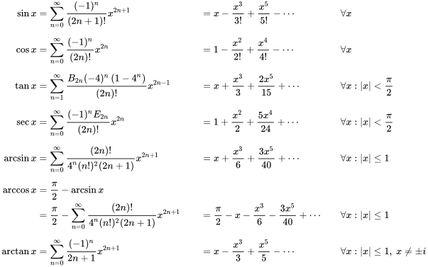 {\displaystyle {\begin{aligned}\sin x&=\sum _{n=0}^{\infty }{\frac {(-1)^{n}}{(2n+1)!}}x^{2n+1}&&=x-{\frac {x^{3}}{3!}}+{\frac {x^{5}}{5!}}-\cdots &&\forall x\\[6pt]\cos x&=\sum _{n=0}^{\infty }{\frac {(-1)^{n}}{(2n)!}}x^{2n}&&=1-{\frac {x^{2}}{2!}}+{\frac {x^{4}}{4!}}-\cdots &&\forall x\\[6pt]\tan x&=\sum _{n=1}^{\infty }{\frac {B_{2n}(-4)^{n}\left(1-4^{n}\right)}{(2n)!}}x^{2n-1}&&=x+{\frac {x^{3}}{3}}+{\frac {2x^{5}}{15}}+\cdots &&\forall x:|x|<{\frac {\pi }{2}}\\[6pt]\sec x&=\sum _{n=0}^{\infty }{\frac {(-1)^{n}E_{2n}}{(2n)!}}x^{2n}&&=1+{\frac {x^{2}}{2}}+{\frac {5x^{4}}{24}}+\cdots &&\forall x:|x|<{\frac {\pi }{2}}\\[6pt]\arcsin x&=\sum _{n=0}^{\infty }{\frac {(2n)!}{4^{n}(n!)^{2}(2n+1)}}x^{2n+1}&&=x+{\frac {x^{3}}{6}}+{\frac {3x^{5}}{40}}+\cdots &&\forall x:|x|\leq 1\\[6pt]\arccos x&={\frac {\pi }{2}}-\arcsin x\\&={\frac {\pi }{2}}-\sum _{n=0}^{\infty }{\frac {(2n)!}{4^{n}(n!)^{2}(2n+1)}}x^{2n+1}&&={\frac {\pi }{2}}-x-{\frac {x^{3}}{6}}-{\frac {3x^{5}}{40}}+\cdots &&\forall x:|x|\leq 1\\[6pt]\arctan x&=\sum _{n=0}^{\infty }{\frac {(-1)^{n}}{2n+1}}x^{2n+1}&&=x-{\frac {x^{3}}{3}}+{\frac {x^{5}}{5}}-\cdots &&\forall x:|x|\leq 1,\ x\neq \pm i\end{aligned}}}