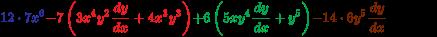 {\color {Blue}12\cdot 7x^{6}}{\color {Red}-7\left(3x^{4}y^{2}{\frac  {dy}{dx}}+4x^{3}y^{3}\right)}{\color {Green}+6\left(5xy^{4}{\frac  {dy}{dx}}+y^{5}\right)}{\color {Brown}-14\cdot 6y^{5}{\frac  {dy}{dx}}}+0=0