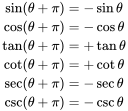 {\begin{aligned}\sin(\theta +\pi )&=-\sin \theta \\\cos(\theta +\pi )&=-\cos \theta \\\tan(\theta +\pi )&=+\tan \theta \\\cot(\theta +\pi )&=+\cot \theta \\\sec(\theta +\pi )&=-\sec \theta \\\csc(\theta +\pi )&=-\csc \theta \end{aligned}}