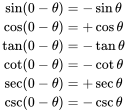 {\begin{aligned}\sin(0-\theta )&=-\sin \theta \\\cos(0-\theta )&=+\cos \theta \\\tan(0-\theta )&=-\tan \theta \\\cot(0-\theta )&=-\cot \theta \\\sec(0-\theta )&=+\sec \theta \\\csc(0-\theta )&=-\csc \theta \end{aligned}}
