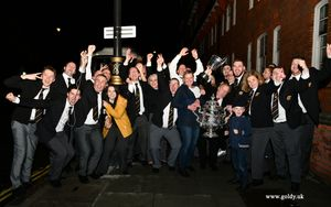 Foden's Band celebrating