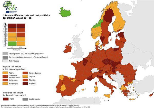 Covid: Emilia Romagna in rosso scuro nella mappa aggiornata Ue - Europa