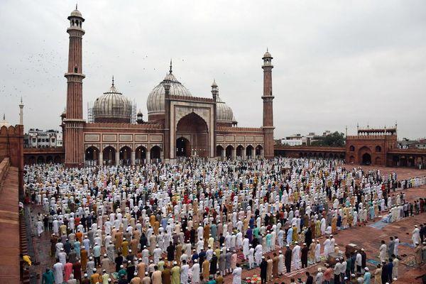 Musulmani nella moschea Jama Masjid di Nuova Delhi - Primopiano