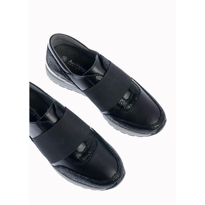 Ana Δερμάτινο Αθλητικό Sneaker, Μαύρο