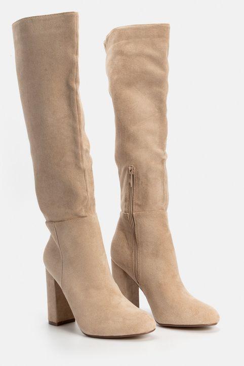 Leone Μπότες Ψηλοτάκουνες Suede, Μπεζ