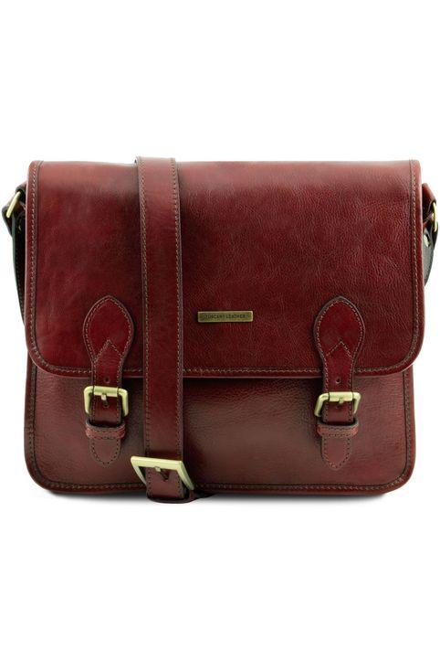 Τσάντα Messenger Δερμάτινη TL Postman Καφέ Tuscany Leather