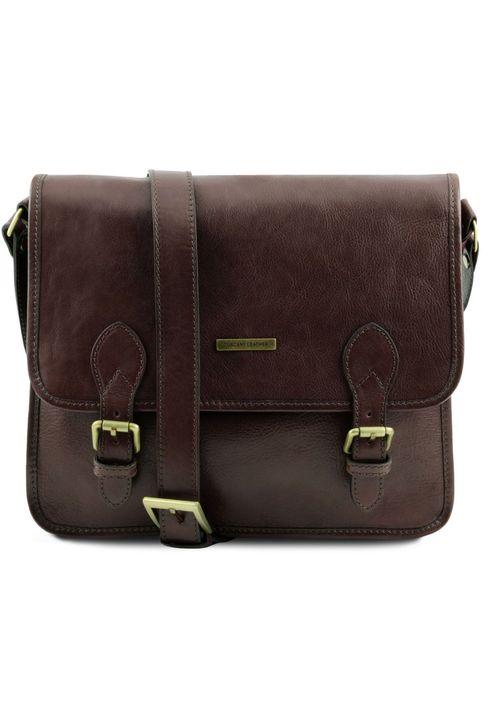 Τσάντα Messenger Δερμάτινη TL Postman Καφέ σκούρο Tuscany Leather