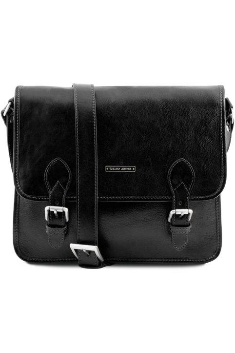 Τσάντα Messenger Δερμάτινη TL Postman Μαύρο Tuscany Leather