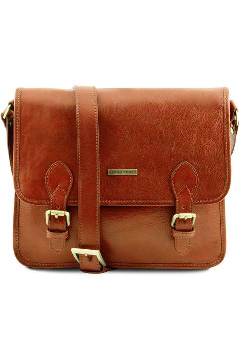 Τσάντα Messenger Δερμάτινη TL Postman Μελί Tuscany Leather