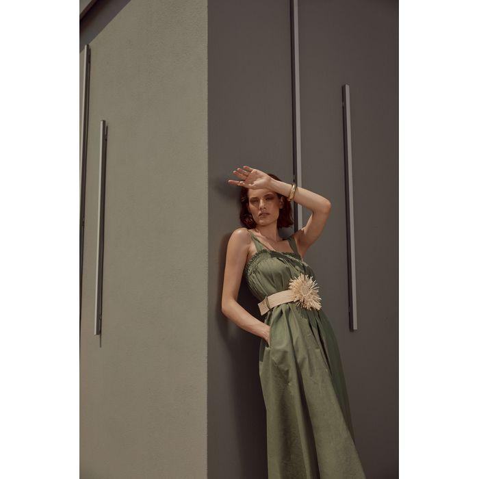 Φόρεμα λινό με ψάθινη ζώνη