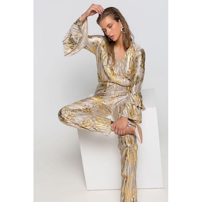 Ολόσωμη φόρμα πλισέ με χρυσά φύλλα