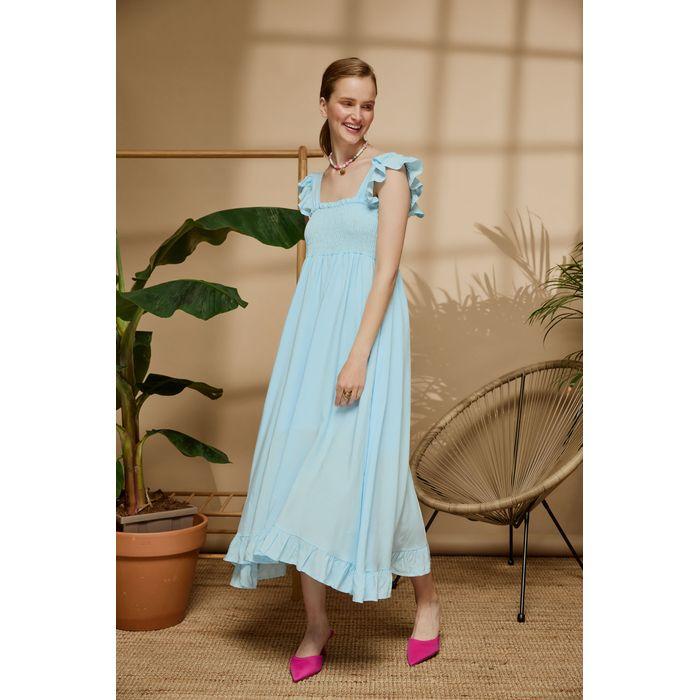 Φόρεμα με τιράντες και βολάν 100% viscose