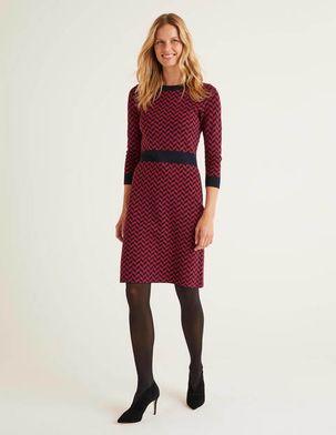 Phoebe Knitted Dress Purple Women Boden, Navy