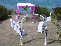 Our Fiji Wedding Package means decorations; archway & chairs are fully taken care of.