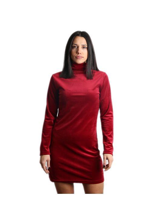 Βελούδινο μίνι φόρεμα ζιβάγκο (Μπορντό)