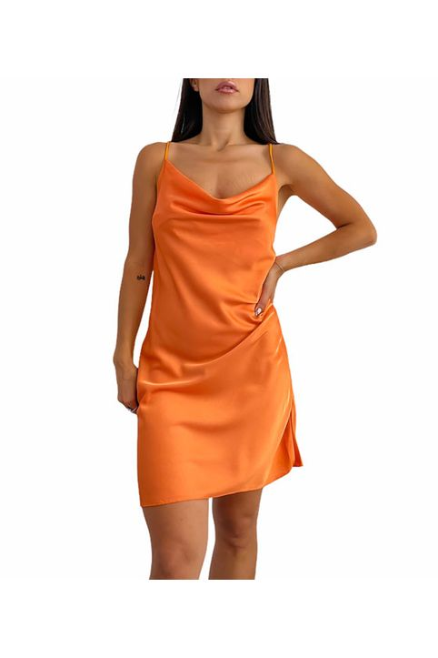 Σατέν φόρεμα darya (Πορτοκαλί)
