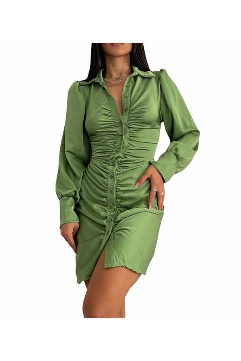 Φόρεμα σατέν με δεσίματα στην πλάτη (Πράσινο)