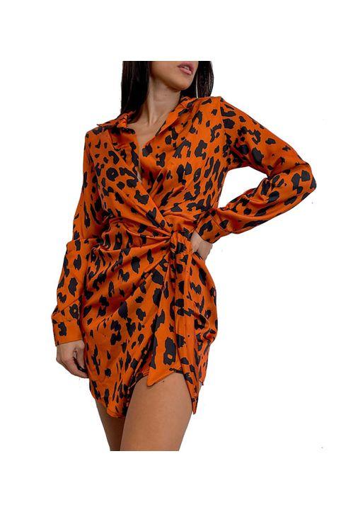 Σατέν φόρεμα λεοπάρ με βάτες (Εκάι)