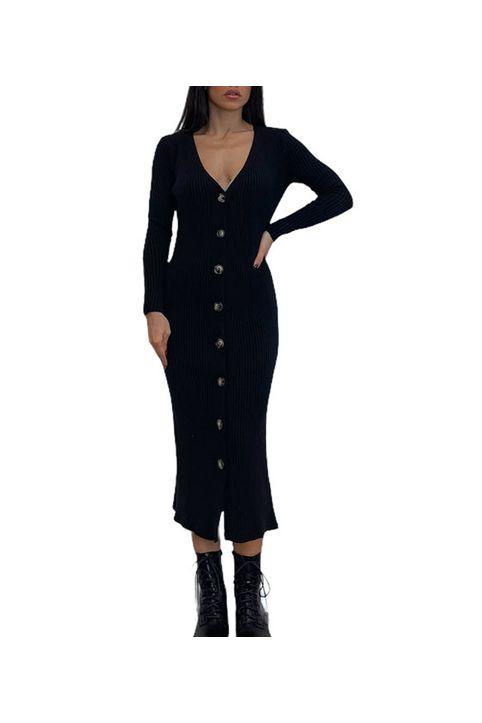 Πλεκτό φόρεμα midi με κουμπιά (Μαύρο)