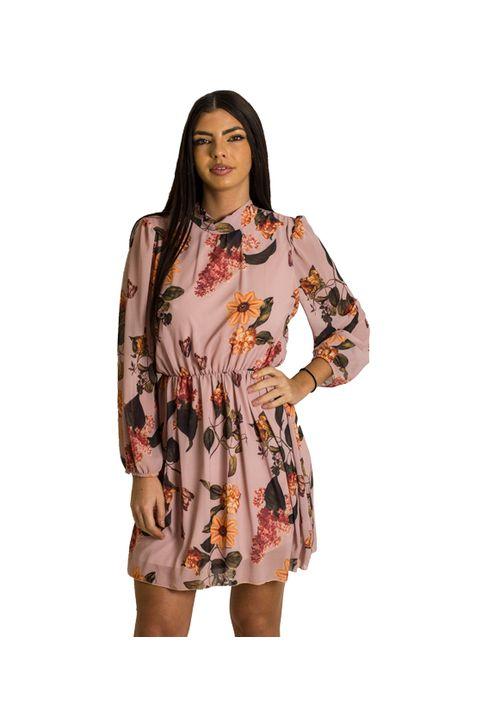 Φόρεμα εμπριμέ με δέσιμο στο λαιμό (Ροζ)