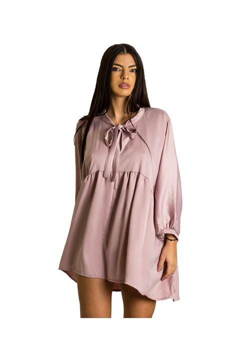 Σατέν φόρεμα με δέσιμο στο στήθος (Ροζ)