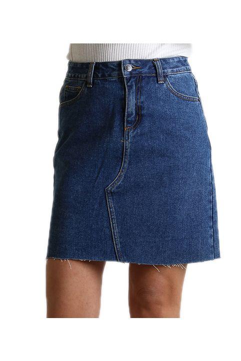 Τζιν φούστα με τσέπες στο πίσω μέρος και φερμουάρ
