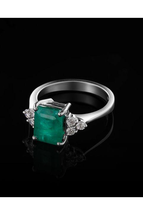 Δαχτυλίδι λευκόχρυσο Κ18 με Διαμάντια και Σμαράγδι