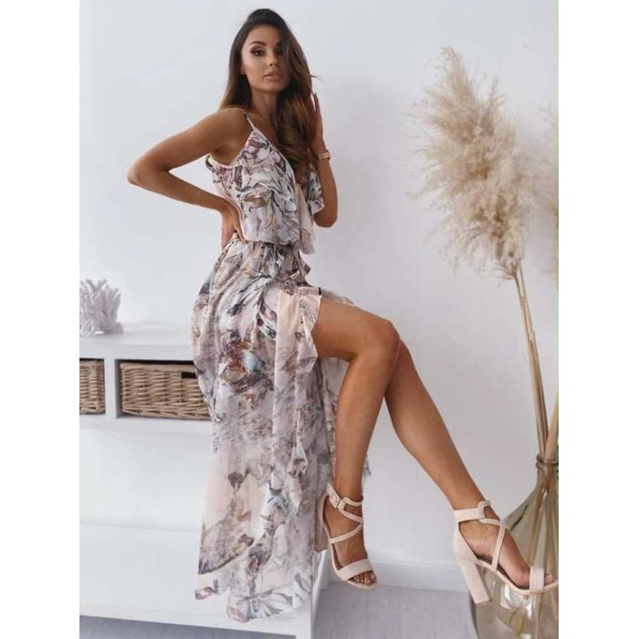 SIERRA FLORAL LEAVES MAXI DRESS