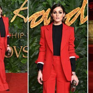 Трендсетерката Оливија Палермо во црвен костум од ...