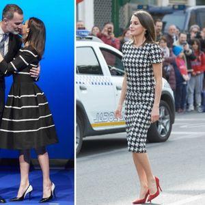 Кралицата Летиција во две црно-бели дамски ...