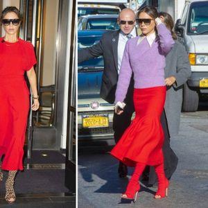 Викторија Бекам впечатлива во црвено и чизми со ...