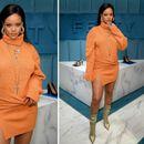 Ријана шик ѕвезда во портокалов плетен фустан во ...