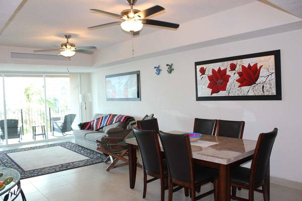 Spacious dining room and comfy living room