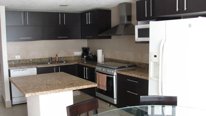 Beautiful kitchen with nice big fridge, dishwasher, microwave and kitchen utensils