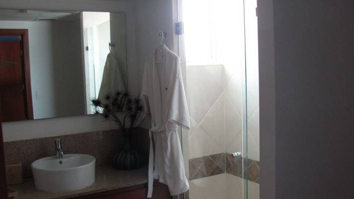 Bathroom with a view to the glass shower door and pressed bathrobe