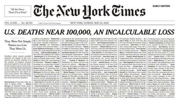 Coronavirus sul New York Times prima pagina elenco delle vittime del covid