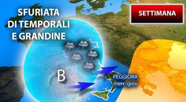 Meteo maltempo arrivo temporali gran parte dell Italia allerta arancione Basilicata Previsioni fino giovedì