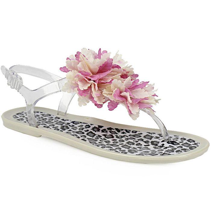 Γυναικεία σανδάλια με διακοσμητικό λουλούδι Μπεζ