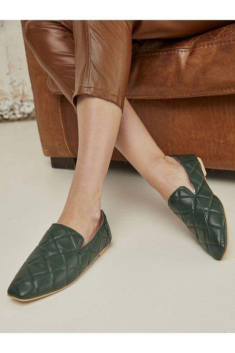 Καπιτονέ loafers - Λαδί