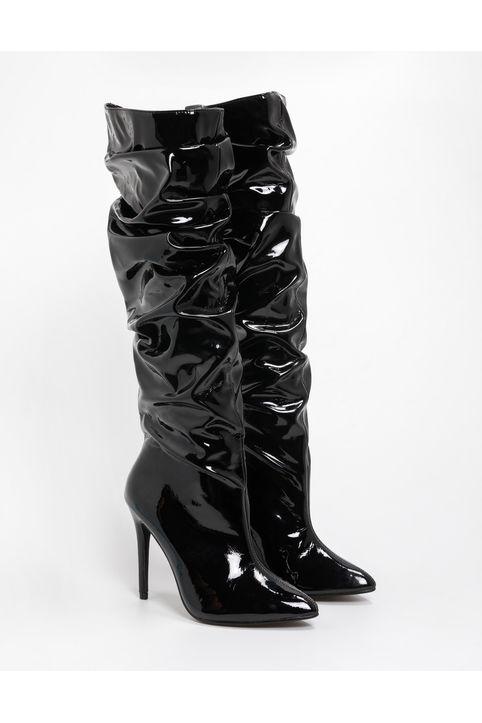 Μπότες λουστρίνι με σούρες και λεπτό τακούνι - Μαύρο