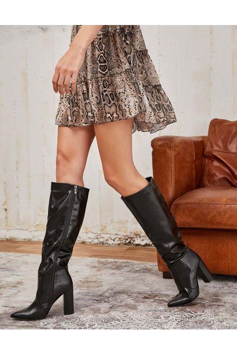 Μυτερές μπότες γονάτου - Μαύρο