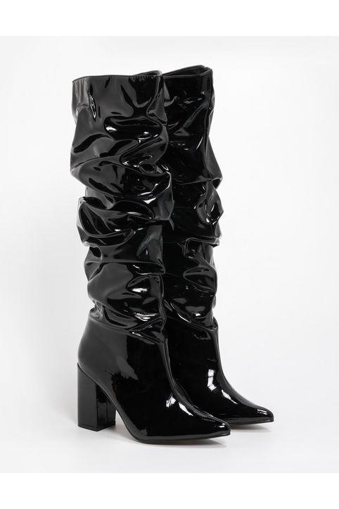 Slouchy λουστρίνι μυτερές μπότες - Μαύρο