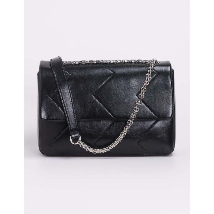 Τσάντα ώμου με γαζιά - Μαύρο