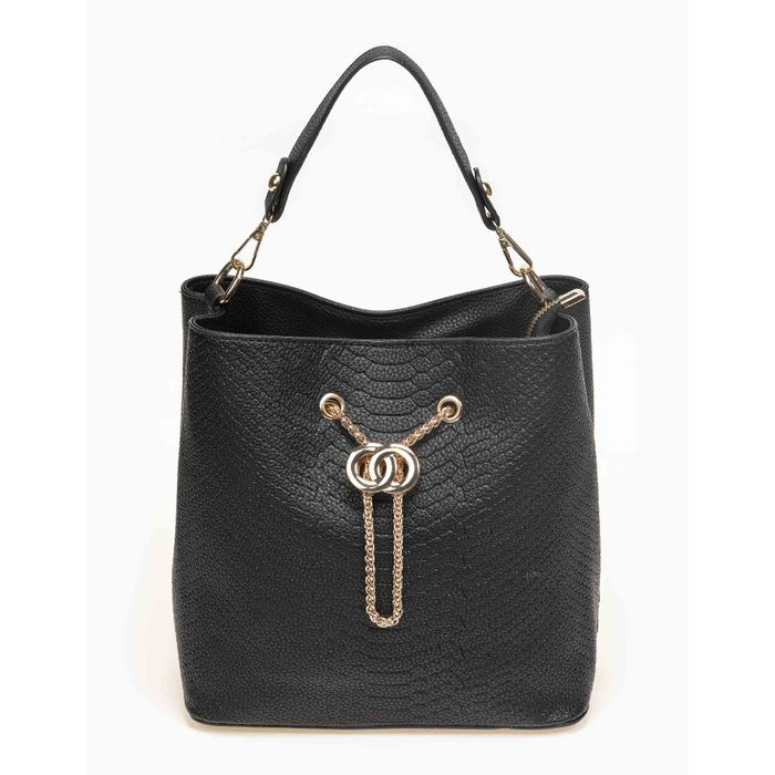 Τσάντα ώμου πουγκί με αλυσίδα - Μαύρο