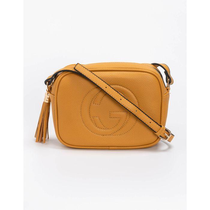 Τσάντα ώμου με ανάγλυφο λογότυπο - Κίτρινο